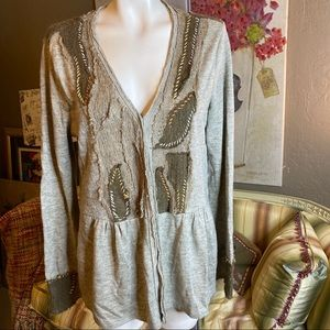 Mystree Anthropologie Brown Cardigan Sweater L